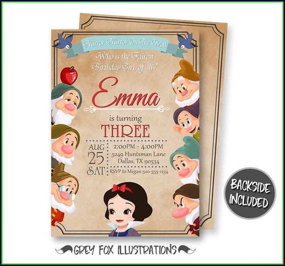 Printable Blank Snow White Invitation Template