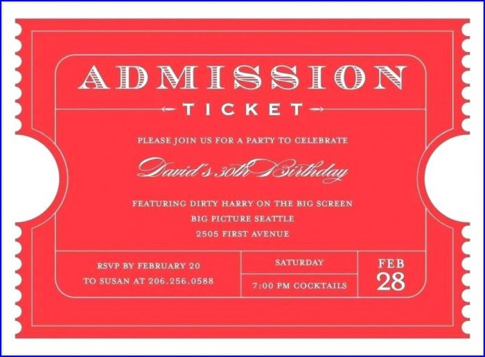Printable Entry Ticket Template