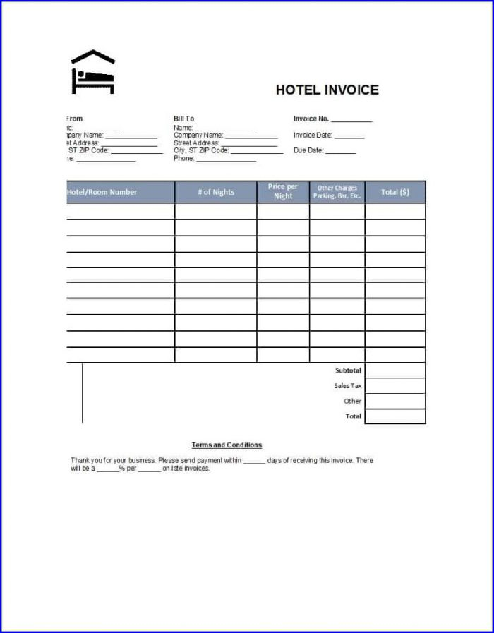 Printable Fake Hotel Receipt Template