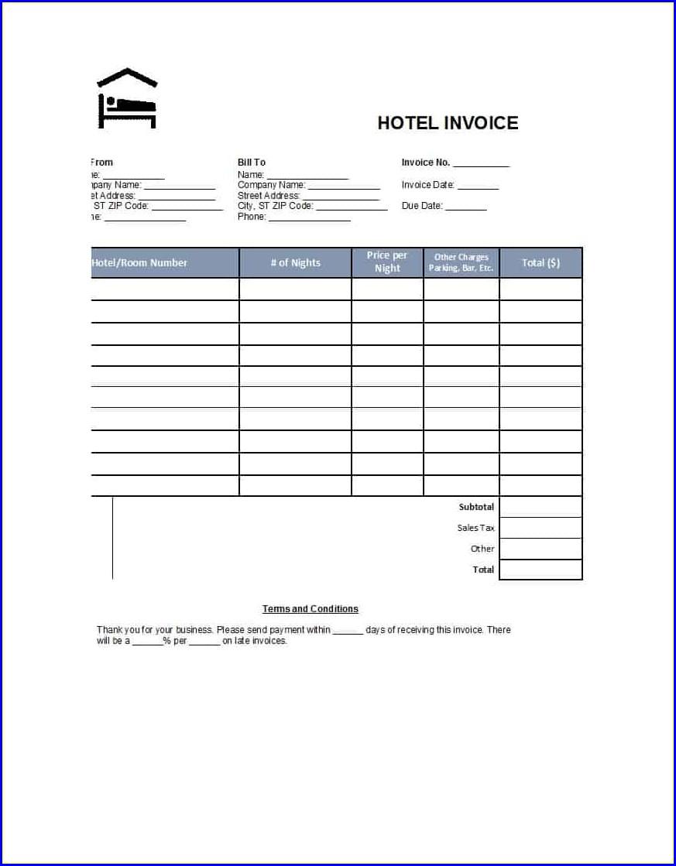 Printable Fake Hotel Receipt Template