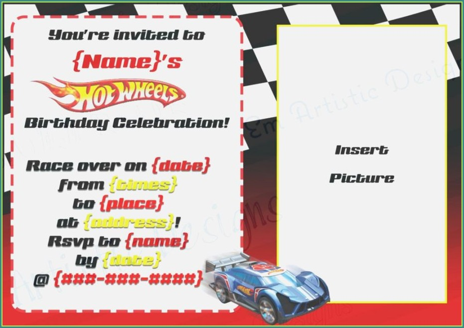 Printable Hot Wheels Invitation Template Free