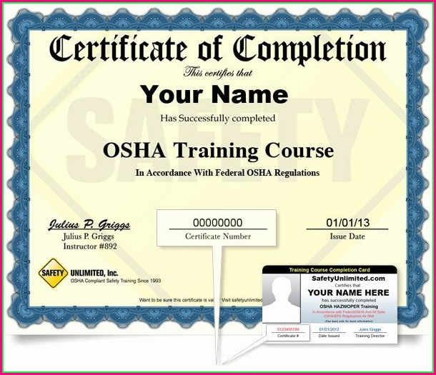 Printable Osha 30 Card Template