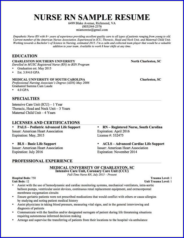 Registered Nurse Free Nursing Resume Templates