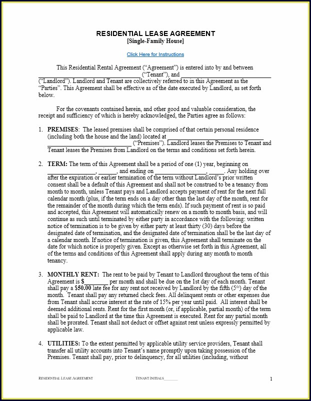 Residential Free Lease Agreement Template