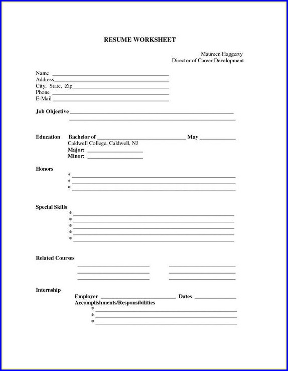 Resume Template Blank Form