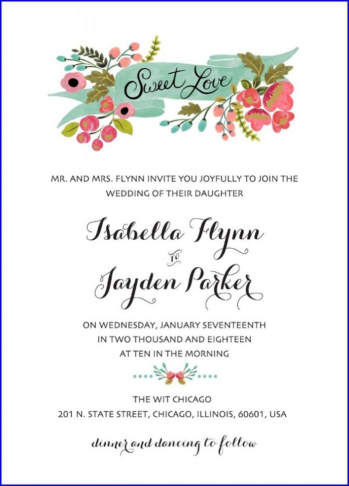 Royal Blue Blank Wedding Invitation Templates Free Download
