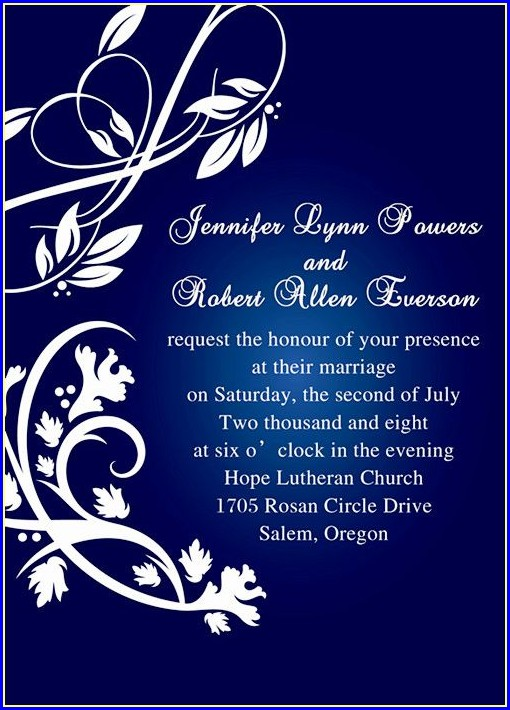 Royal Blue Wedding Invitation Templates Free
