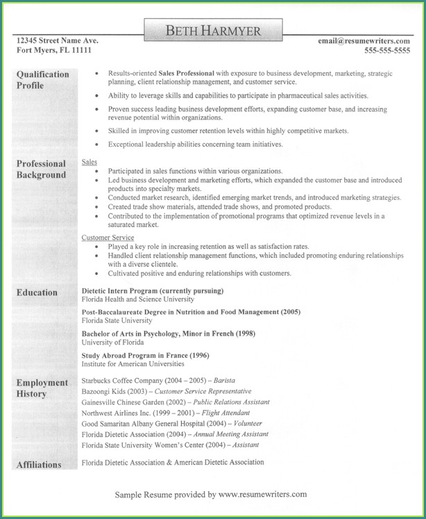 Sales Resume Templates Free