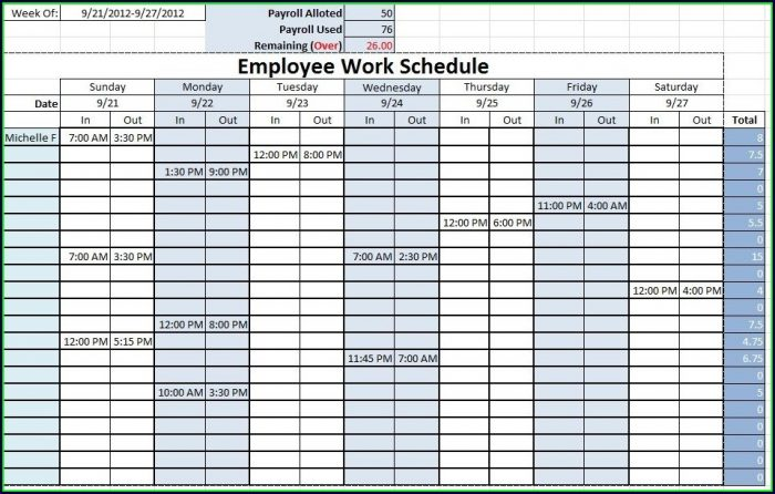 Shift Planner Template Excel