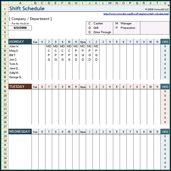 Shift Planner Template