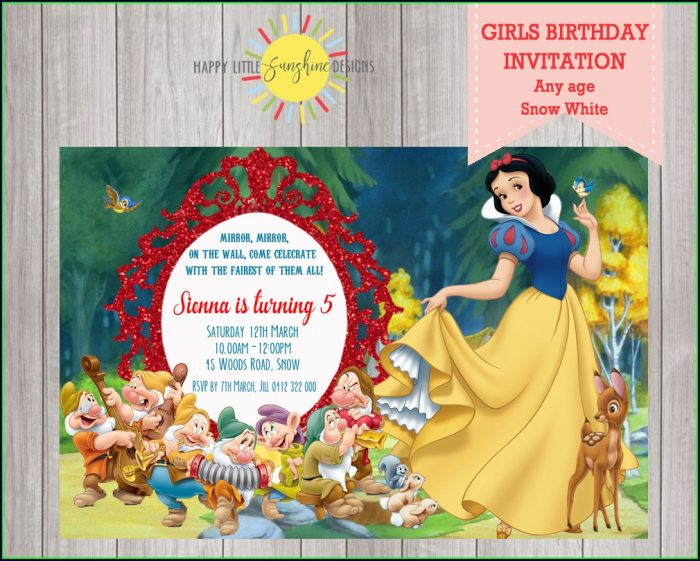 Snow White Birthday Invitation Template