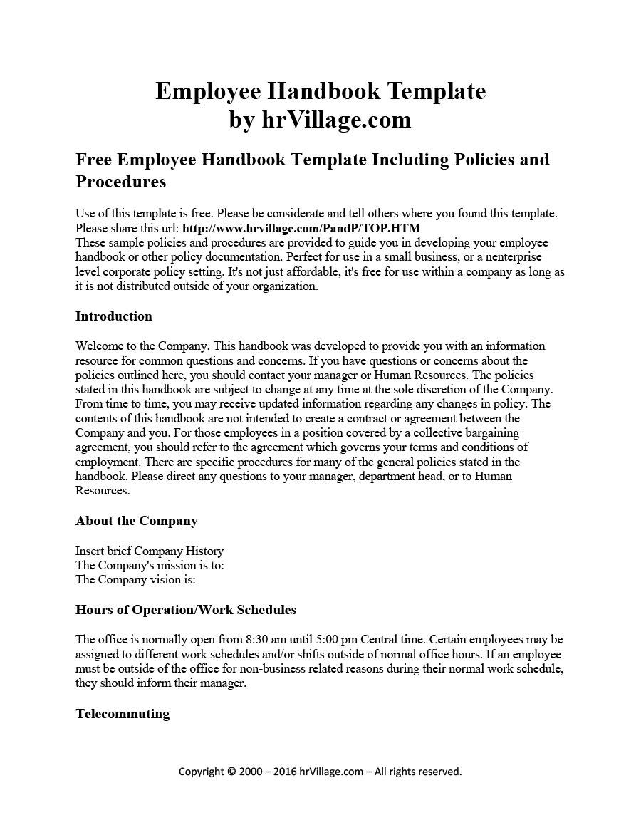 Template Employee Handbook
