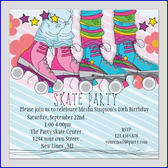 Template Free Printable Blank Roller Skating Birthday Party Invitations