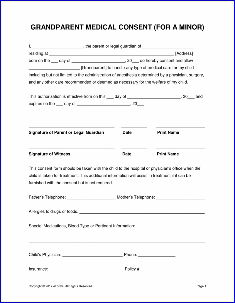 Template Free Printable Child Medical Consent Form