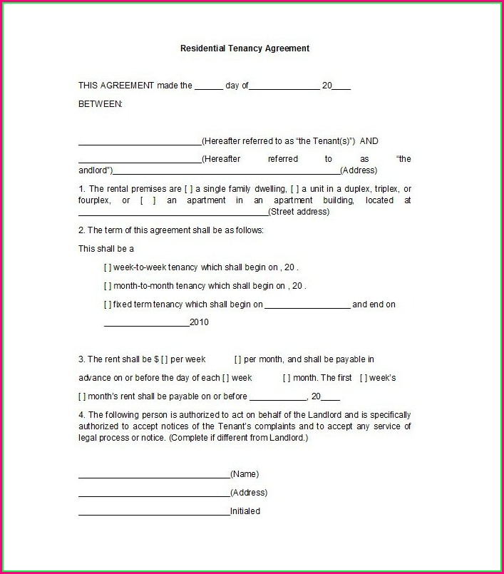 Template Of Lease Agreement South Africa