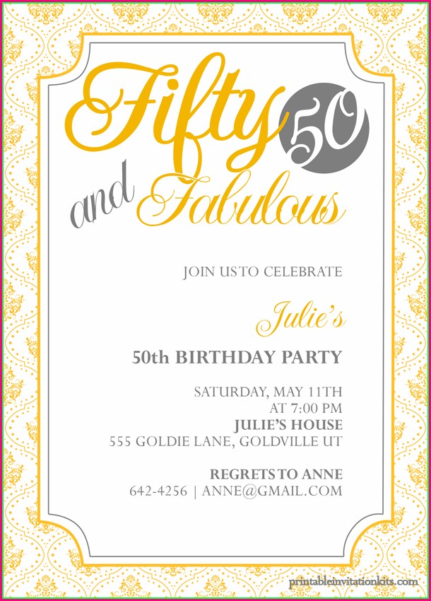 Template Printable 50th Birthday Invitations