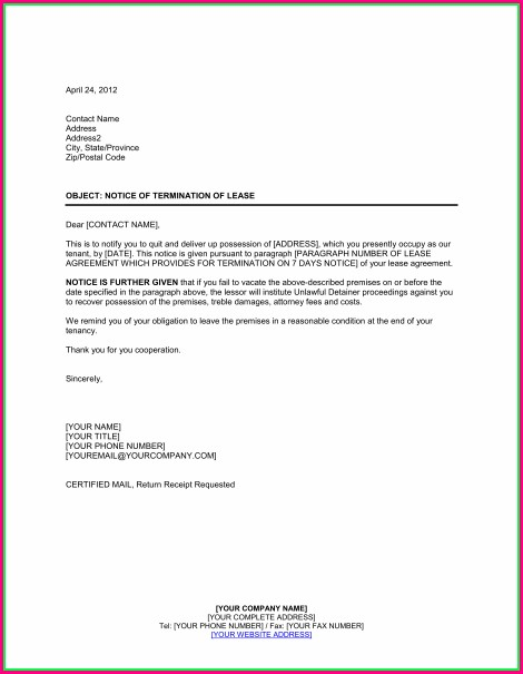Template Termination Of Lease Agreement By Tenant