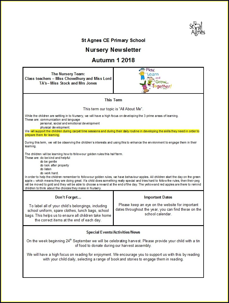 Templates Free Preschool Weekly Newsletter Template