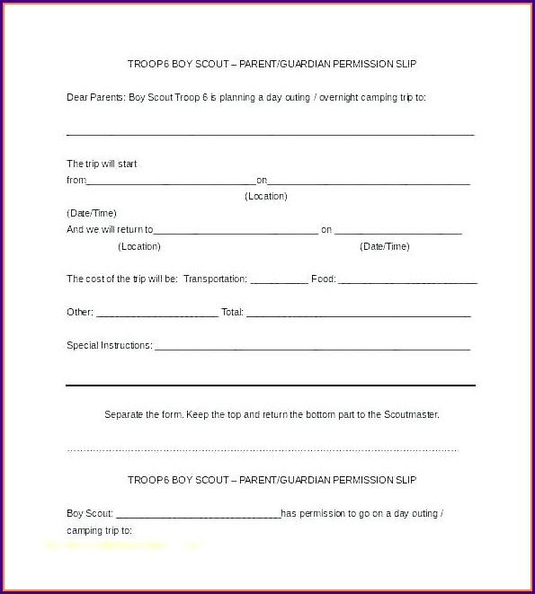 Travel Parental Consent Form Template