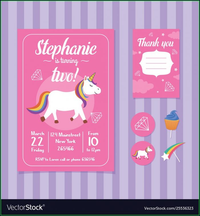Unicorn Birthday Invitation Card Template Free