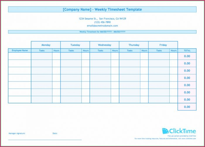 Weekly Free Excel Timesheet Template Multiple Employees