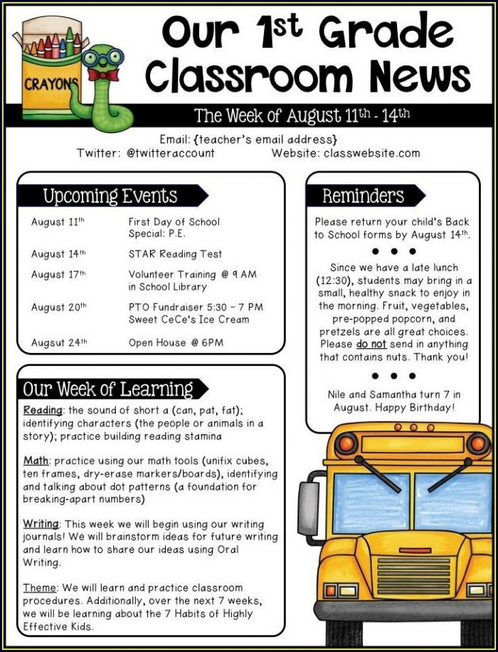 Weekly Newsletter Template For Teachers Free