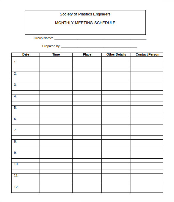 Work Schedule Monthly Template