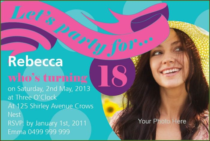 18th Birthday Invitations Templates Free