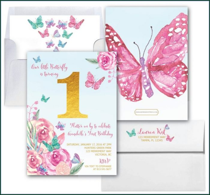 1st Birthday Butterfly Invitations Templates Free