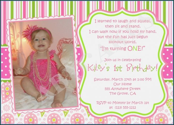 1st Birthday Invitations Templates With Photo Free