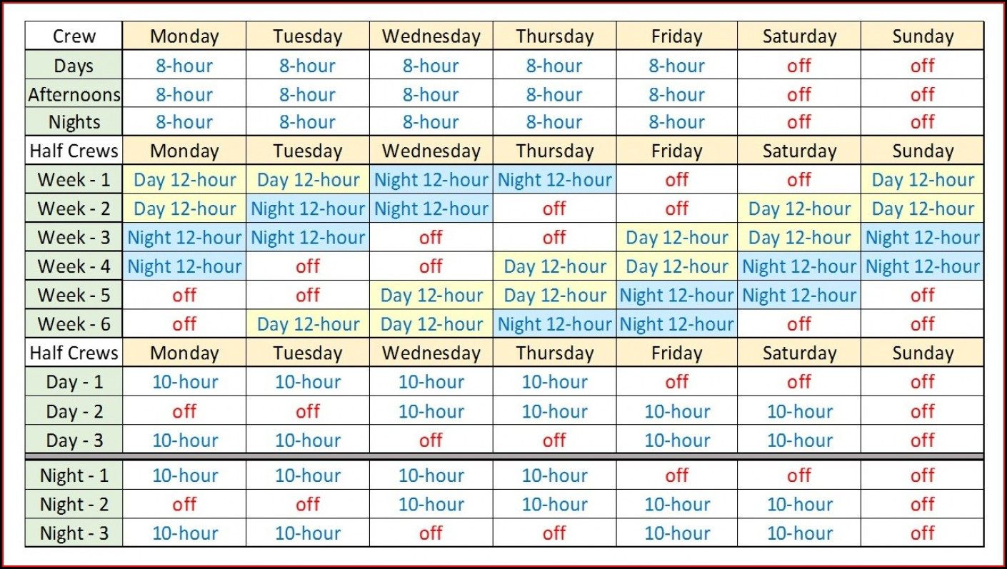 24 Hour Shift Schedule Template