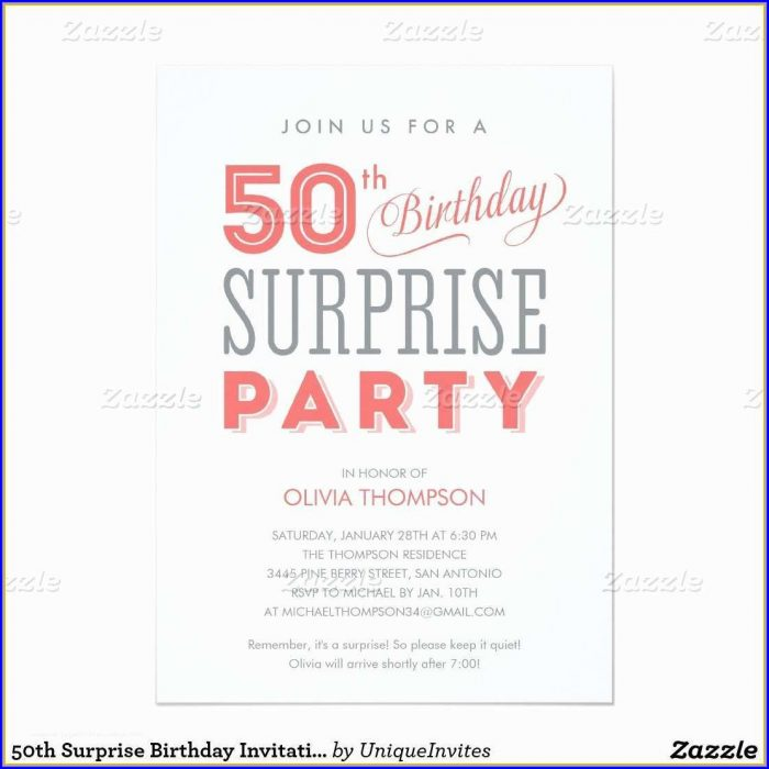 50th Birthday Invitation Templates Word Free