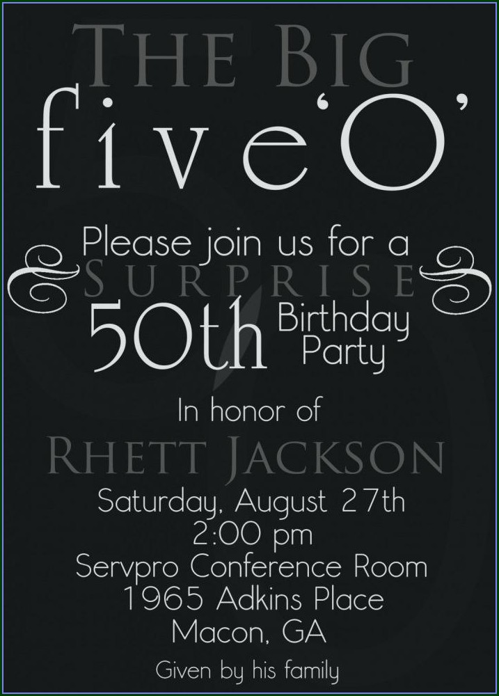 50th Birthday Party Invitation Templates Free Download