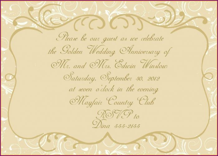 50th Wedding Anniversary Invitations Templates Free Download