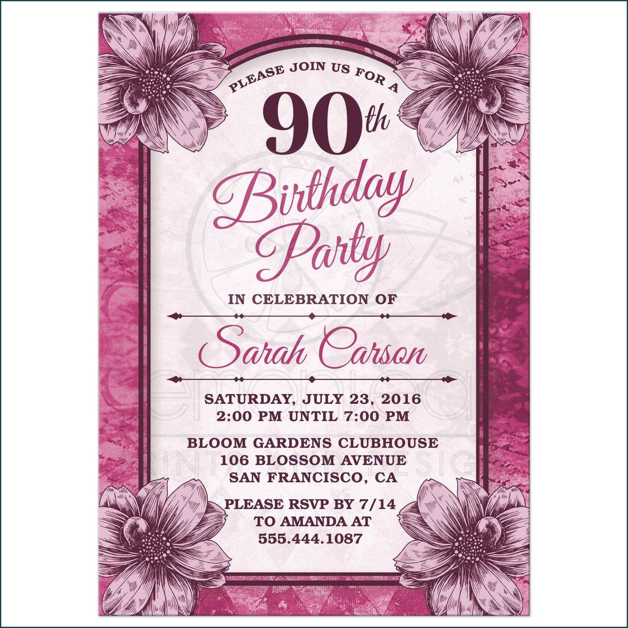 70th Birthday Invitation Card Template