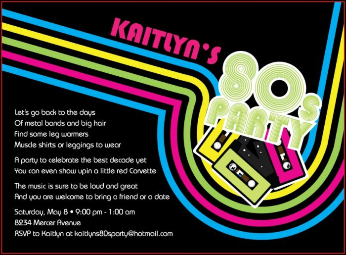 80s Party Poster 80's Invitation Template