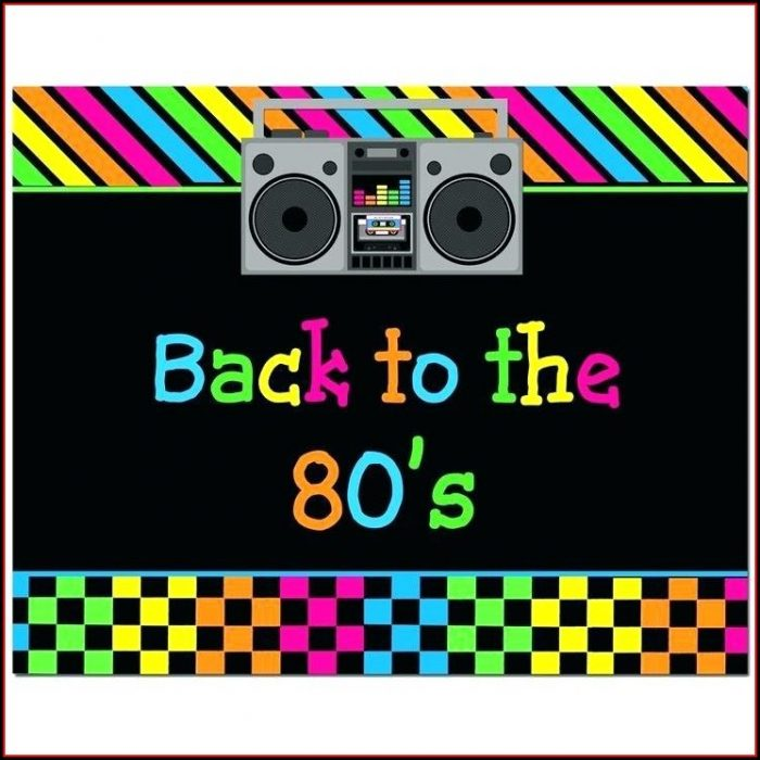 80s Themed Party Invitation Template Free