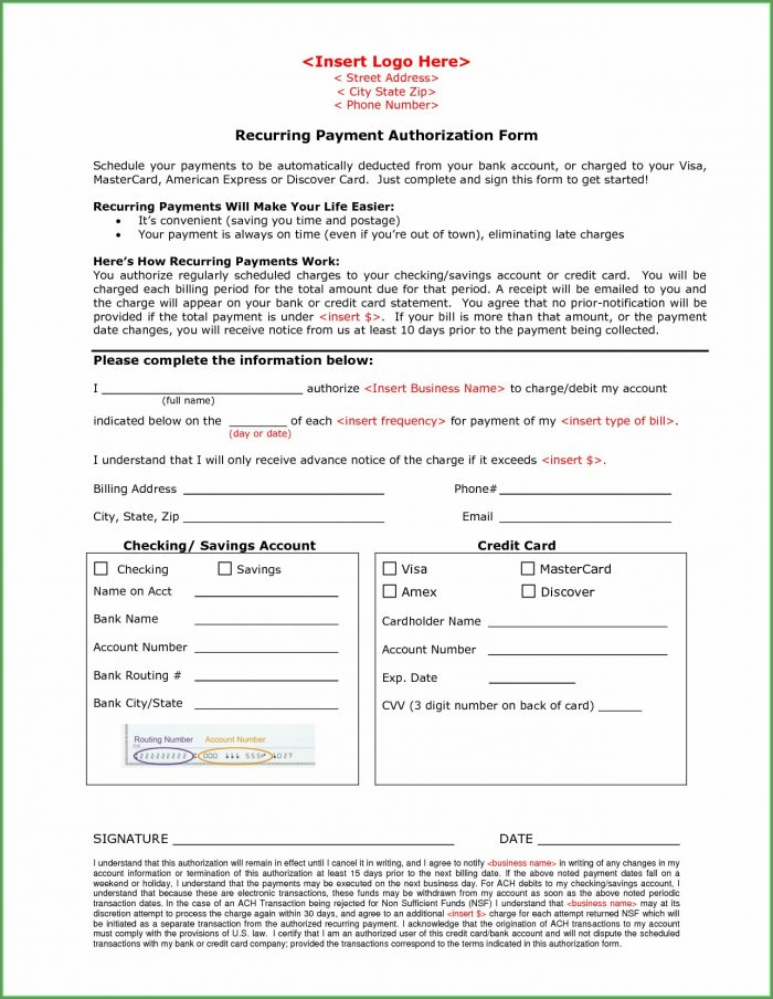 Ach Debit Ach Authorization Form Template