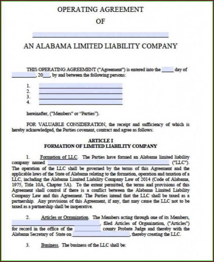Articles Of Organization Llc Georgia Template