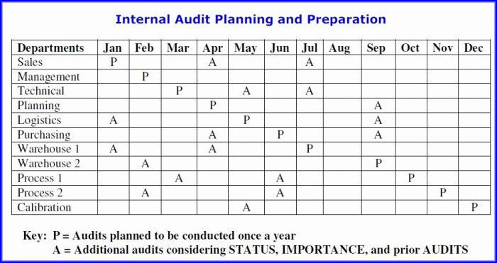 As9100 Internal Audit Schedule Template