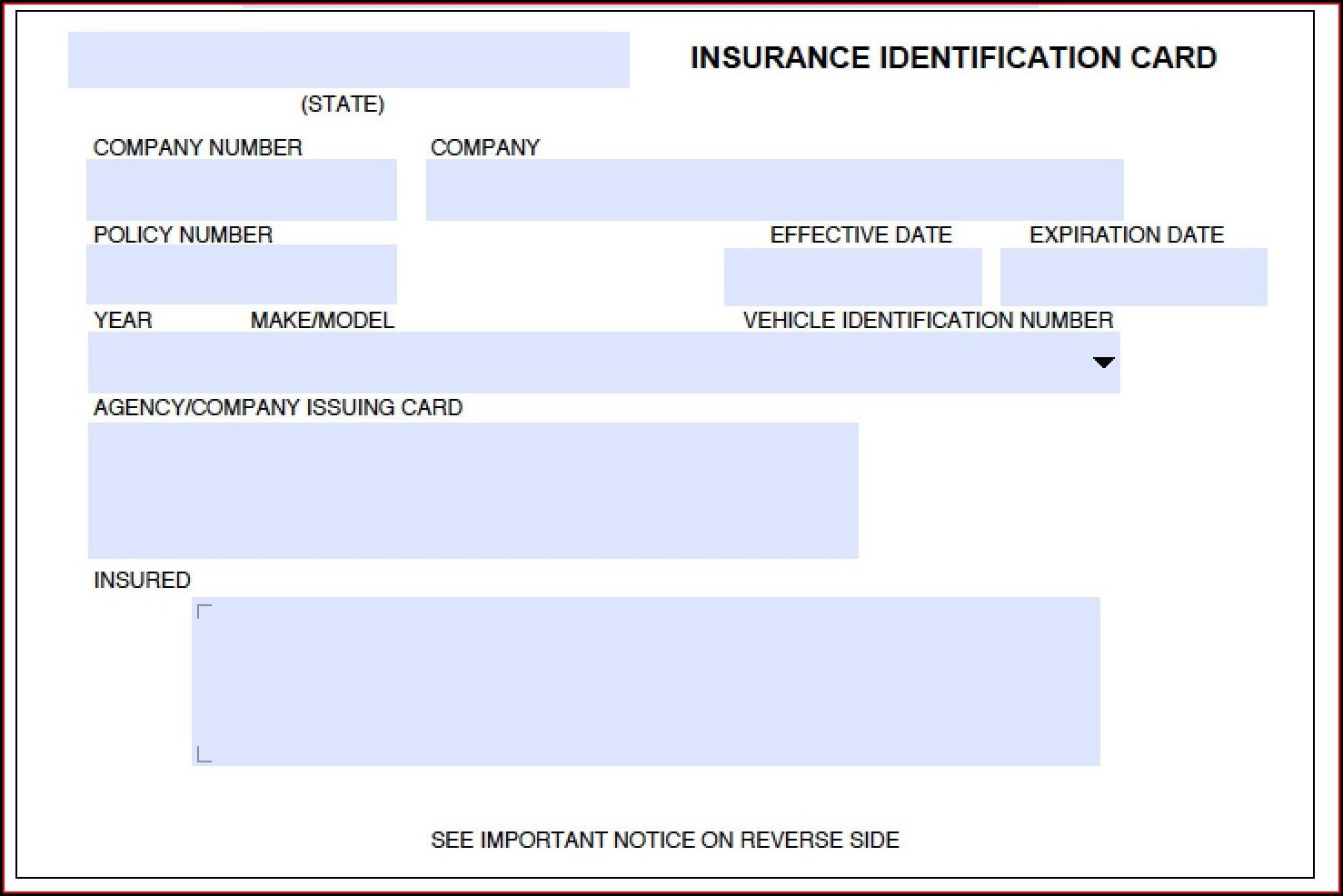 Auto Insurance Id Card Template
