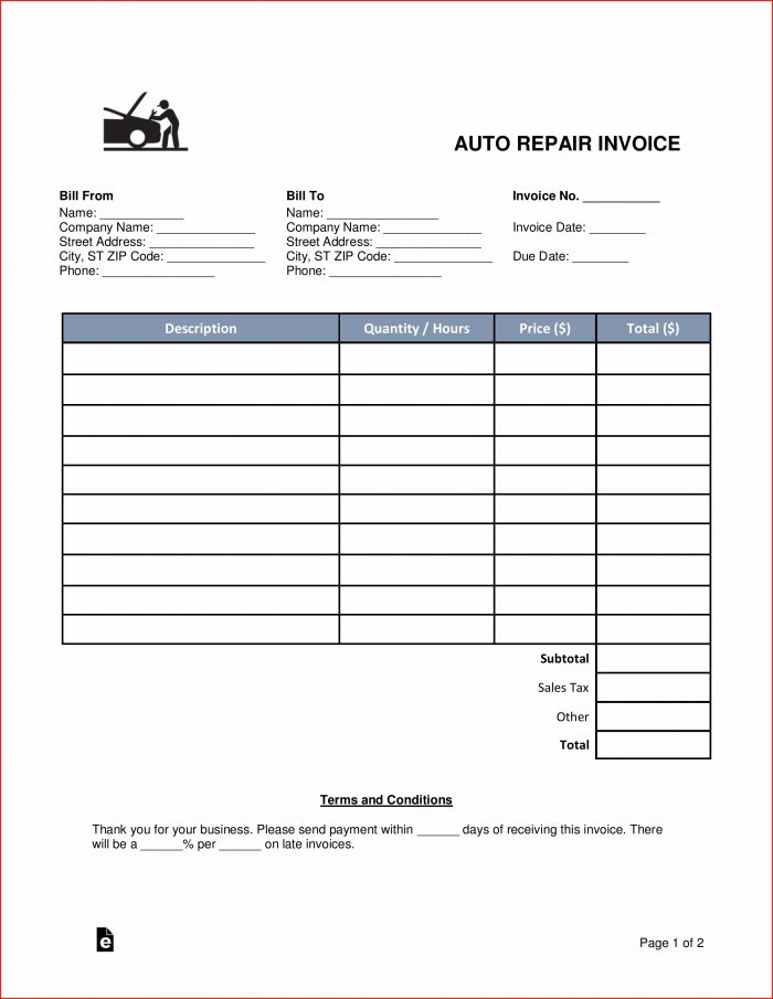 Auto Repair Receipt Template Free