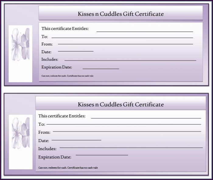 Avery Gift Certificate Template Free