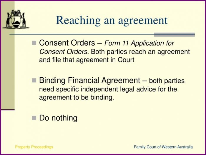 Binding Financial Agreement Template Western Australia