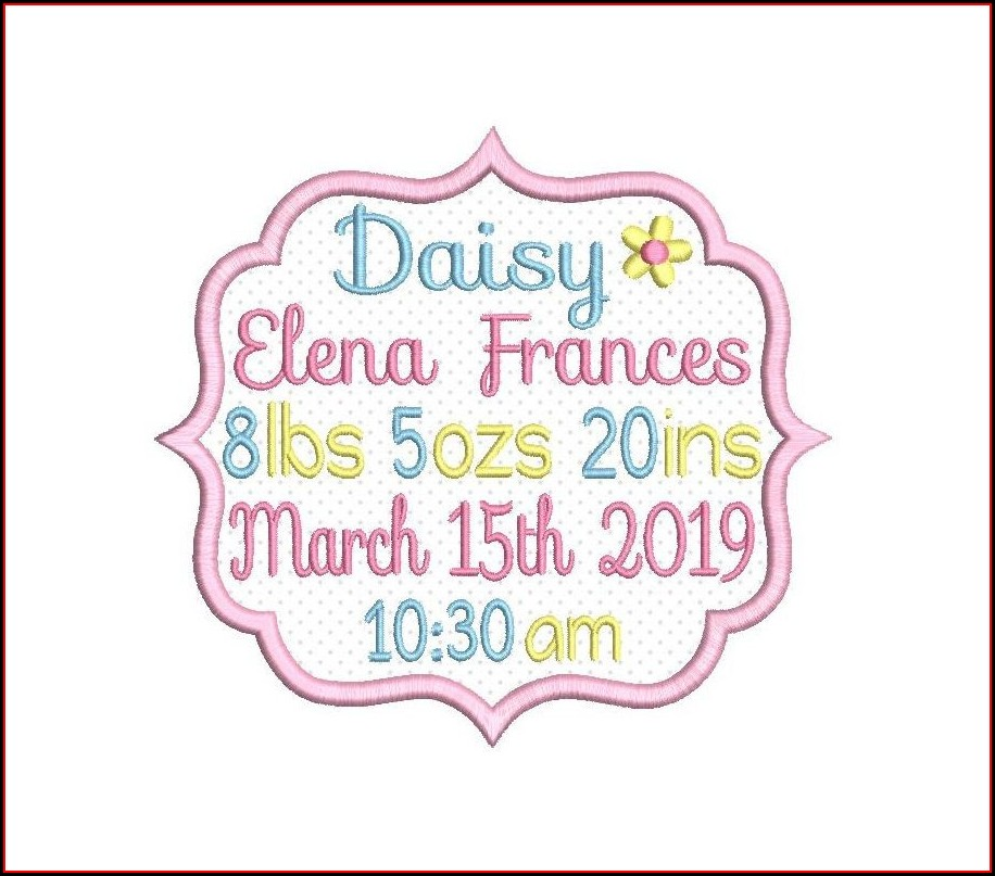 Birth Announcement Template Embroidery Design