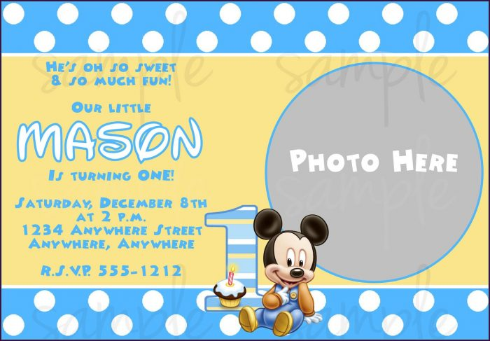 Blank Baby Mickey Mouse Invitation Template
