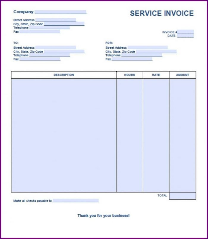 Blank Invoice Template Word Doc