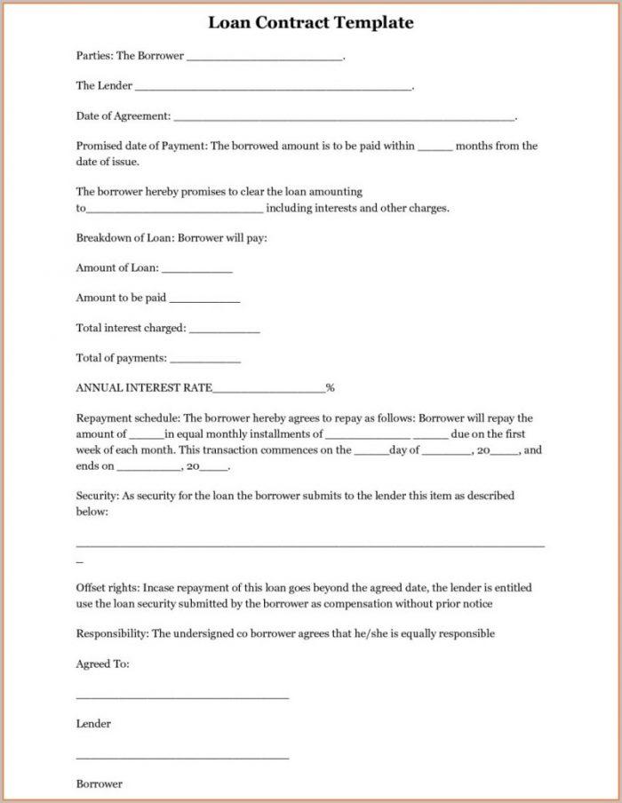 Blank Loan Agreement Template