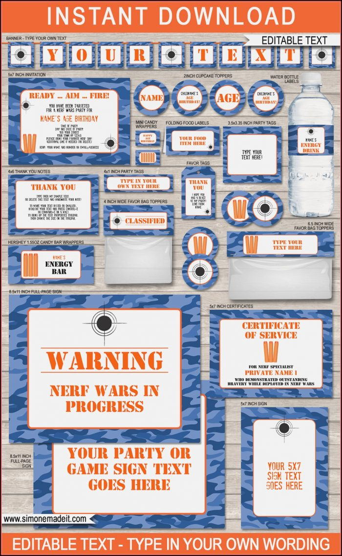 Blank Nerf Gun Invitations Templates