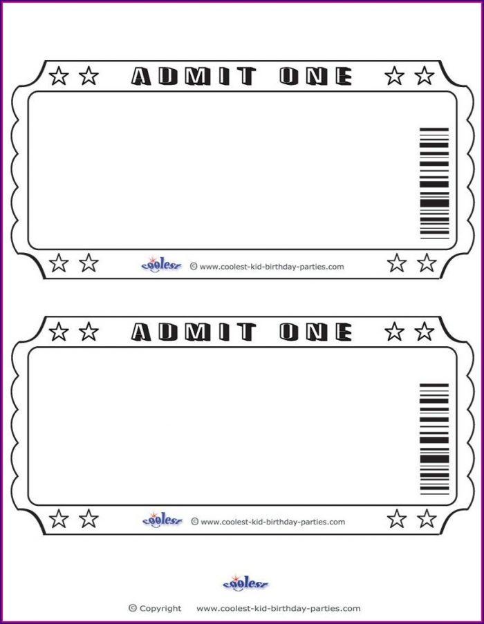 Blank Ticket Stub Template